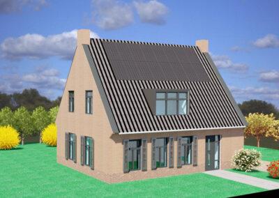Energie neutrale nieuwbouw woning met lucht/waterwarmtepomp in Warns